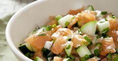Recette de Salade de saumon fumé, pomme et concombre. Facile et rapide à réaliser, goûteuse et diététique. Ingrédients, préparation et recettes associées.