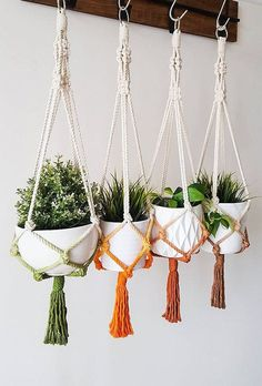 Show your plants some love with this modern, vintage-inspired macrame plant hanger. Hang it in a living room corner or brighten up an office. This macrame plant hanger is a stylish way to showcase your favorite plants year-round. Etsy Macrame, Macrame Art, Macrame Design, Macrame Projects, Macrame Knots, Micro Macrame, Macrame Mirror, Macrame Curtain, Macrame Hanging Planter