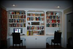 Fit this into corner alcove,  two built-in desks, leave out middle shelf