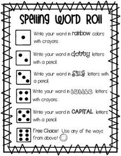 """This is a great center that I utilize during literacy rotations. I have designed 4 different """"spelling word roll"""" sheets that you can switch up and utilize throughout the year. All you need is dice. Print on pretty colored cardstock, laminate, and they can be used over and over again."""
