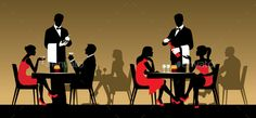 Silhouettes of People Sitting at Tables in a Restaurant or Night Club - People Characters