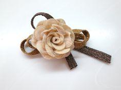 Vintage Gold Brown Ribbon Rose Satin Flower Pin by Shoimade