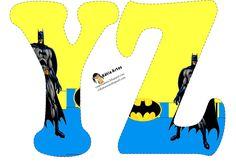 A-Z---Alfabeto de Batman en fondo amarillo y azul. | Oh my Alfabetos!