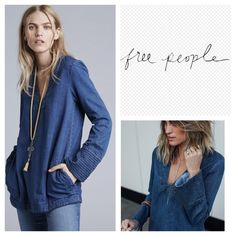"""Free People Dreaming of Denim Tunic.  NWT. Free People Dreaming of Denim Tunic, 100% cotton, machine washable, 20.5"""" armpit to armpit (41"""" all around), 19"""" arm inseam, 32.5"""" length, trapunto stitching at the neckline and cuffs lends rustic contrast to a relaxed fit cut from soft denim, pullover, V neck, front pockets, long sleeves, measurements are approx.  No Trades Free People Tops"""