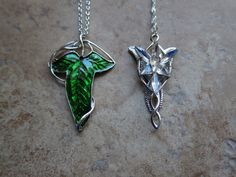 Evenstar necklace and Leaf broach/ necklace 2 pc by BilingualBunny
