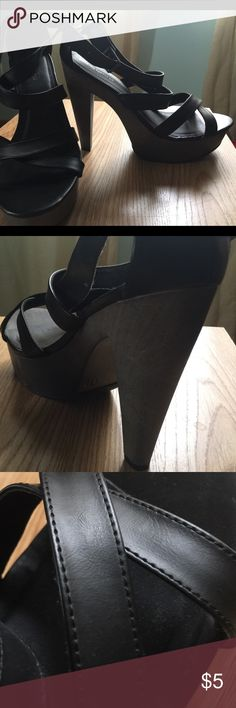 Black Strappy Heels - Size 11 Mossimo Supply Company. EUC. Black with a lighter grey heel. Size 11. Worn once for a wedding. Mossimo Supply Co. Shoes Heels