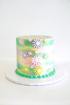 WATER COLORS & DAISIES CAKE by Cake Bash Studio & Bakery, Lake Balboa CA