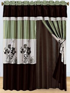 3-Layer Modern SAGE GREEN/BEIGE/BROWN Pin Tuck Curtain Window Panel with attached valance and sheer back by Grand Linen. $29.95. Add Taste, Style & Comfort with this Luxury 8 Pc Curtain set. Complete the set with our quality Bedding, all sizes, check out our storefront.. Set includes, 2 Panels 60X84 each making 120X84 inches wide. 2 Ties, 2 Attached valances and 2 attached sheers.. Bring a touch of class into your home with this Curtain Set. This set will add a touch of w...