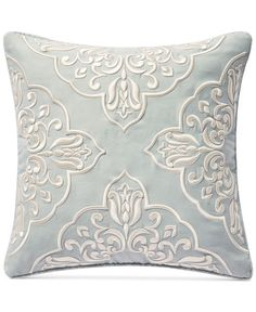 Add a refined look to your bedroom decor with the Waterford Gwyneth Square Reversible Throw Pillow. One side is designed with stunning embroidered medallions, and the other features a chic floral medallion print in coordinating colors. Embroidery Patterns, Machine Embroidery, Pillow Embroidery, Pillows Online, Outdoor Lounge Furniture, Blue Square, Unisex Baby Clothes, Quilted Pillow, Coordinating Colors