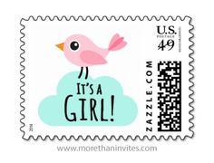 "Cute postage stamp featuring a cartoon illustration of a little pink bird standing on an aqua blue cloud and the text ""It's a girl"". Bright and fun design, perfect for baby shower invitations or new baby girl announcements."