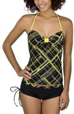 Xhilaration® Juniors Plaid 2 pc. Tankini Swimsuit - Black/Yellow