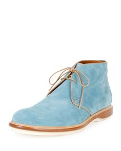 Strauss Suede Lace-Up Boot, Blue, Men's, Size: 10D - Bally