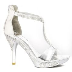 Glamorous Womens DIAMOND8 Open Toe Studded Rhinestone Studded Ankle T Strap High Heel Platform Sandal Stiletto Pump Bridal Wedding Prom Even... - Click image twice for more info - See a larger selection of bridal shoes at   http://zweddingsupply.com/product-category/bridal-shoes/ - woman , wedding , wedding fashion, wedding style, wedding ideas, woman fashion, shoes.