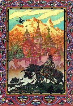"""Boris Zvorykin - Ilustración para """"El pájaro de fuego y otros cuentos populares rusos"""" [1925]."""