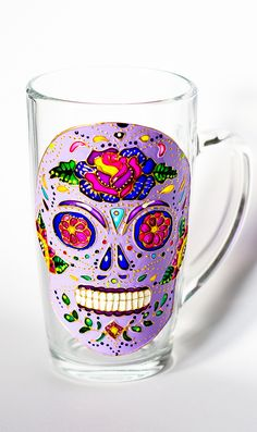 Day of the Dead Skull Mug, Dia de los Metros, Large Skull Mug, Latte Mug