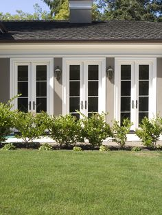 Exterior Narrow French Doors Design Pictures Remodel Decor and Ideas - March 03 2019 at Exterior Patio Doors, Exterior Doors With Glass, Sliding Glass Door, Exterior Paint, Sliding Doors, Narrow French Doors, French Doors Patio, Double Doors, Double Patio Doors