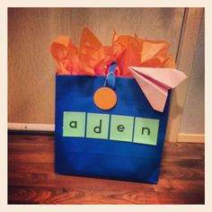 Take an inexpensive gift  bag and personalize it!  #adrianperry #gift #giftbag #giftwrap #birthdaygift #boysbirthday