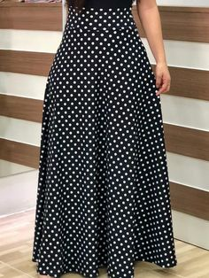 Shop Short Sleeve Polka Dots Print Patchwork Maxi Dress right now, get great deals at divaslily Modest Fashion, Fashion Dresses, Polka Dot Maxi Dresses, Trend Fashion, Dress Silhouette, Tee Dress, Clothes For Women, Style, Polka Dots