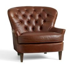 Cardiff Leather Armchair, Polyester Wrapped Cushions, Chocolate At Pottery Barn - Furniture - Chairs & Ottomans - Leather Brown Leather Armchair, Leather Ottoman, Green Armchair, Chair And Ottoman, Sofa Chair, Cardiff, Pottery Barn Furniture, Hanging Chair From Ceiling, Wayfair Living Room Chairs