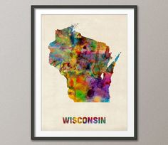 Wisconsin Watercolor Map USA Art Print 379 by artPause on Etsy