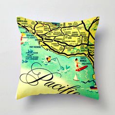 Map Pillow California Map Pillow  Santa Monica by VintageBeachMaps