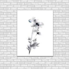 Silver Grey Minimalist Flowers Watercolor by CanotStopPrints