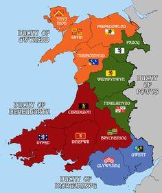 clan map of Wales Uk History, British History, World History, Ancient History, Family History, Map Of Britain, Roman Britain, Kingdom Of Great Britain, World Maps