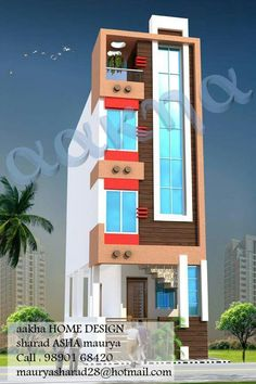 Single Floor House Design, Small House Floor Plans, House Front Design, Modern House Design, Front Elevation Designs, House Elevation, 20x40 House Plans, 2 Storey House Design, Tower Design