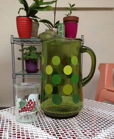 Pitcher / Green Polka dot Vintage Beverage  Pitcher with Ice
