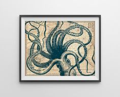 PREORDER Nautical Map Octopus Art Print Nautical by BySamantha