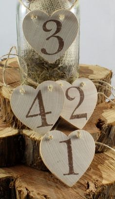 Rustic wooden heart table numbers for rustic & vintage wedding table decor