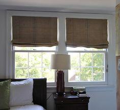 Coffee Sack Roman Shades - eclectic - bedroom - nashville - Camille Moore Window Treatments & Custom Bedding