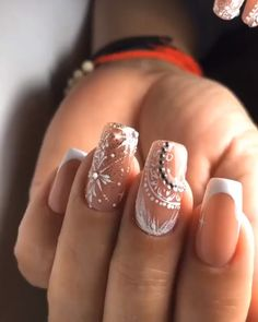 Here is a tutorial for an interesting Christmas nail art Silver glitter on a white background – a very elegant idea to welcome Christmas with style Decoration in a light garland for your Christmas nails Materials and tools needed: base… Continue Reading → Winter Nails, Spring Nails, Summer Nails, Fall Nails, Nail Designs Pictures, Nail Art Designs, Lace Nail Design, Bridal Nails, Wedding Nails