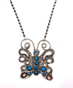 Margaret Sullivan Sterling Silverand Turquoise Large Butterfly Necklace at Maverick Western Wear