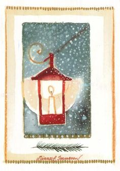 Postcrossing postcard from Finland Christmas Mood, All Things Christmas, Christmas Cards, Christmas Ornaments, Christmas Illustration, Lanterns, Merry, Watercolor, Wall Art