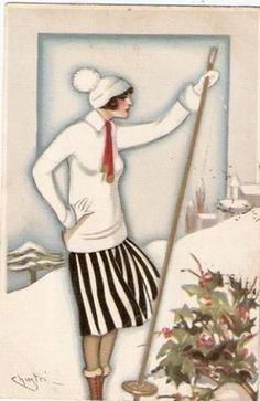 Chiostri Art Deco Postcard woman with cross-country ski pole Vintage Greeting Cards, Vintage Christmas Cards, Retro Christmas, Christmas Images, Vintage Postcards, Christmas Greetings, Christmas Ideas, Xmas, Art Deco Illustration