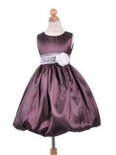 Pretty Plum Bubble Taffeta Flower Girl Dress - In Stock Items