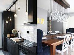 Que amor esses pendentes tipo lâmpada na cozinha