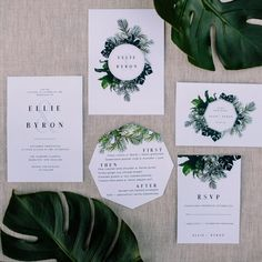 modern greenery wedding stationery