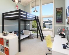 Some Images of Modern Loft Beds for Kids Room Furniture : Modern Loft Beds For Kids With Bunk Bed With Ladder White Sofa White Shelving White Desk With Yellow Chair Wooden Ceiling Various Modern Loft Beds For Kids Room Design Ideas