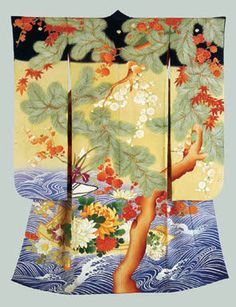 Woman& formal long-sleeved kimono (furisode), Taisho period, Motif: Boat filled with flowers; water, maple leaf, plum and pine. Japanese Textiles, Japanese Art, Japanese Culture, Furisode Kimono, Kimono Fabric, Birmingham Museum Of Art, Japon Tokyo, Samurai, Asian Fabric