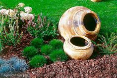 love the surrounding plants accompanying pots! Small Gardens, Outdoor Gardens, Clay Pot Crafts, Lawn And Garden, Clay Pots, Flower Beds, Decor Crafts, Garden Landscaping, Planters