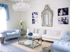 white & blue living rooms !