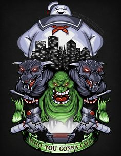 """""""Strange Neighborhood"""" aka """"Who You Gonna Call?"""" by TrulyEpic Ghostbusters design featuring Stay Puft Marshmallow Man, Slimer, Vinz Clortho The Keymaster, and Zuul The Gatekeeper. The Real Ghostbusters, Original Ghostbusters, Arte Horror, Horror Art, Horror Icons, Ghost Busters, Gremlins, Cultura Pop, Comic Art"""