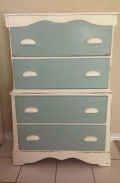 Old White and Duck-Egg Blue Drawers