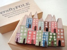 Houses Wooden Brooch