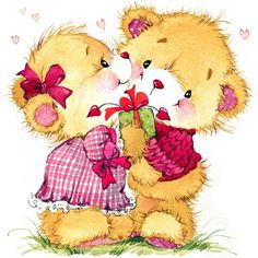 """Photo from album """"Иллюстрации"""" on Yandex. Teddy Bear Pictures, Kiss Pictures, Couple Pictures, Love Pic Image, Coeur Gif, Sweet Hug, Cute Kids Pics, Mickey Mouse Cartoon, Happy Birthday Mom"""