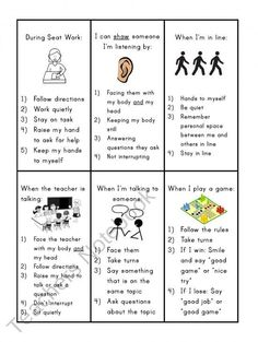 Social Skills Reminder Cards - I like the idea of these cards, but think there may be too many rules on each card. The cards should be cut apart so the child can use the one that is appropriate for the situation.: