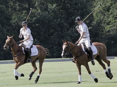 Prince Harry Photos Photos - Prince Harry (L) and Prince William, Duke of Cambridge during a charity polo match at the Audi Polo Challenge at Coworth Park Polo Club on August 3, 2013 in Ascot, England. - Audi Polo Challenge: Day 1