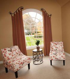 Palladium window treatment - Arched draperies on custom iron hardware. Designer: Christine Tres by Camille Moore Window Treatments & Custom Bedding